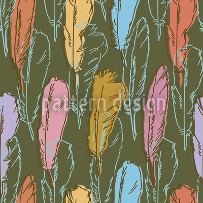 Feathers Handdrawn Colorful Vector Design