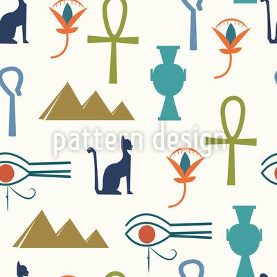 Símbolos egipcios Estampado Vectorial Sin Costura