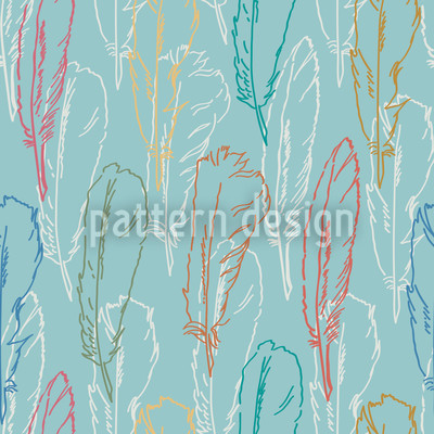 Feathers Handdrawn Azur Repeat Pattern