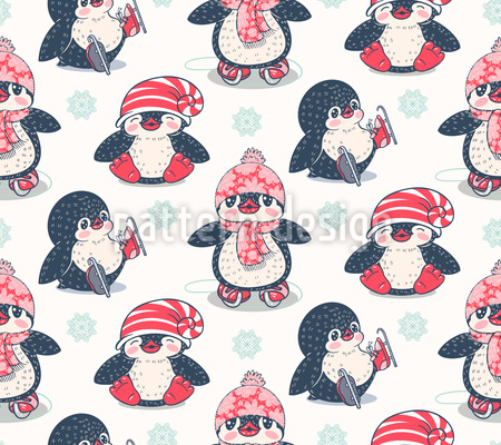 Wintery Penguins Pattern Design