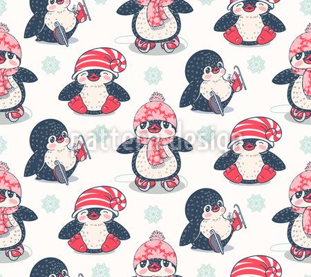 Wintery Penguins Pattern Design