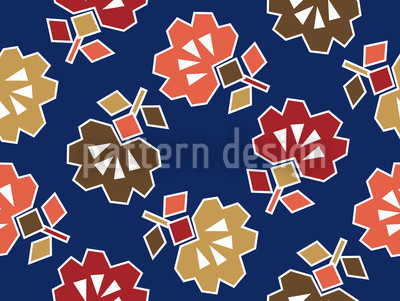 Spiky Blue Seamless Vector Pattern