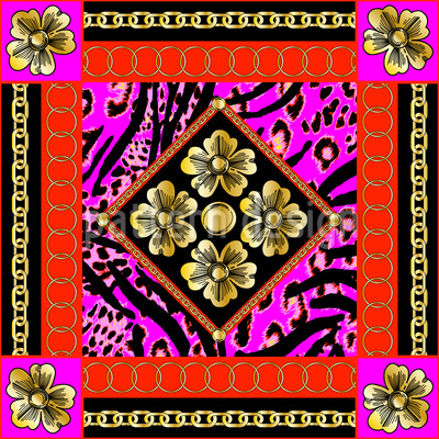 Baroque Flowers With Chains Repeating Pattern