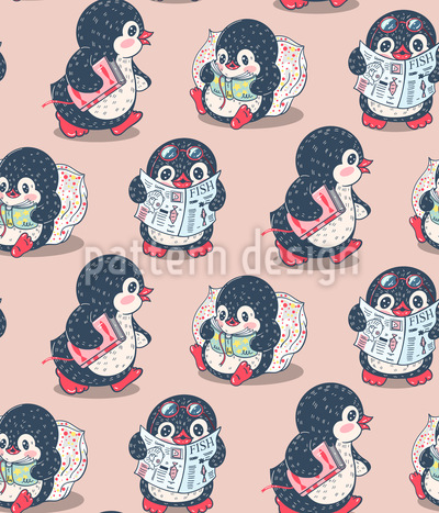 Penguin Fishers Pattern Design