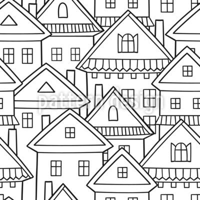 Casas de desenhos animados Design de padrão vetorial sem costura