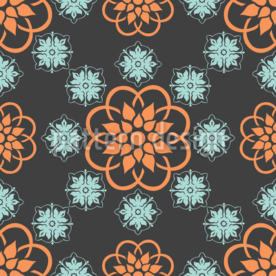 Flowery Night Seamless Vector Pattern Design