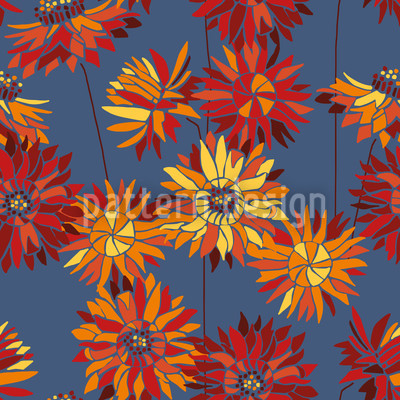 Strawflowers Seamless Vector Pattern
