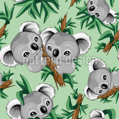 Koala Babies Seamless Vector Pattern Design