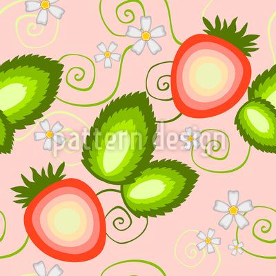 Süße Erdbeere Nahtloses Vektor Muster