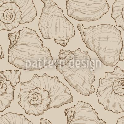 Conchas Areia Design de padrão vetorial sem costura