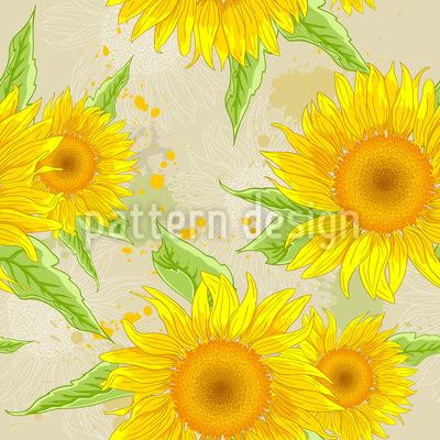 Blühende Sonnenblumen Und Blätter Nahtloses Vektormuster
