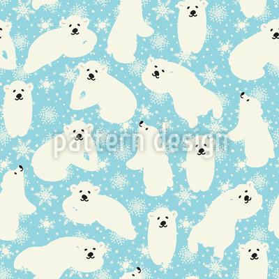 Cute Polar Bear Babies Seamless Vector Pattern Design