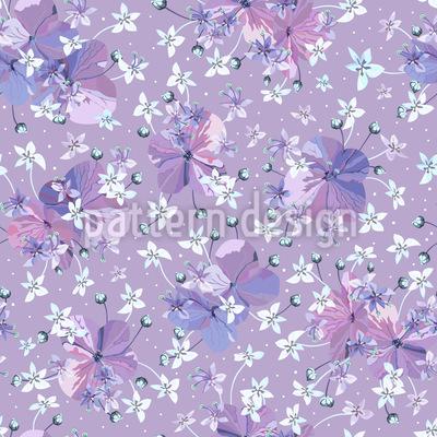 Blumen Mit Knospen Nahtloses Vektormuster