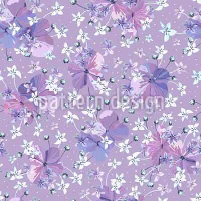 Flowers With Buds Seamless Vector Pattern Design