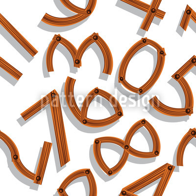 Wooden Numbers Seamless Pattern