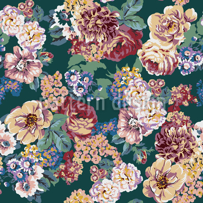 Blumen Vintage Mischung Nahtloses Vektormuster