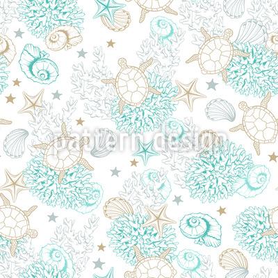 Conchas e Tartarugas Encantadas Design de padrão vetorial sem costura