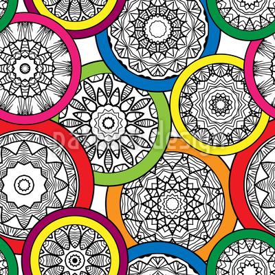 Reunião Mandala Colorido Design de padrão vetorial sem costura