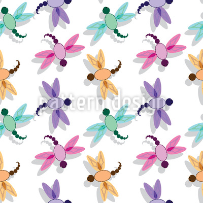 Flight Of The Dragonfly Seamless Pattern