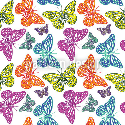Colorful Butterflies Seamless Vector Pattern