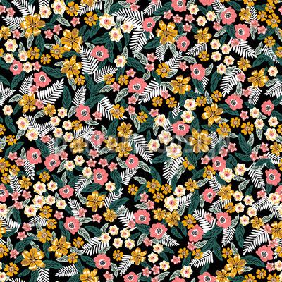 Blumen und Blatt Mix Nahtloses Vektormuster