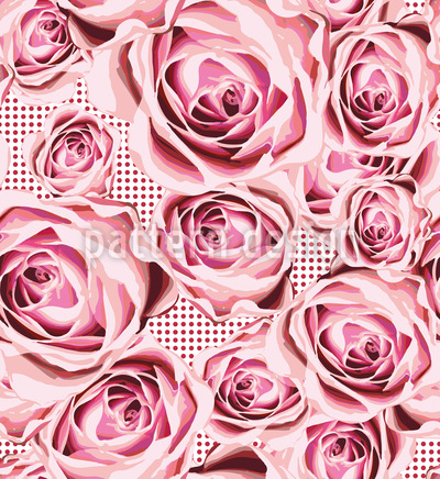 Gebettet Auf Rosen Nahtloses Vektormuster