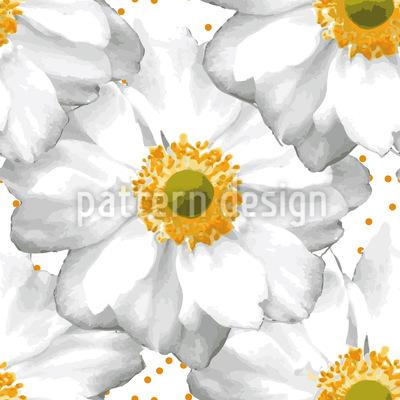 Macro Anemone Seamless Vector Pattern Design