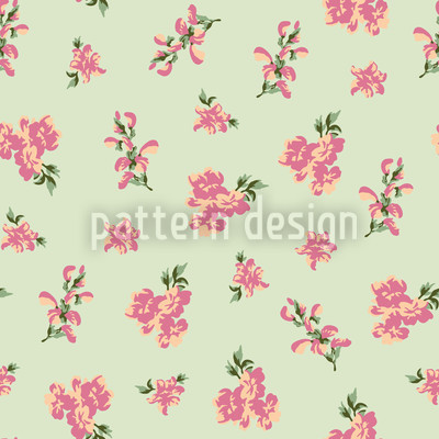 Garden Romance Green Seamless Vector Pattern