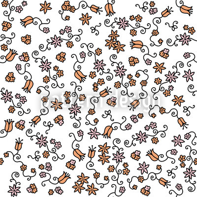 Blossoms All Over Vector Ornament