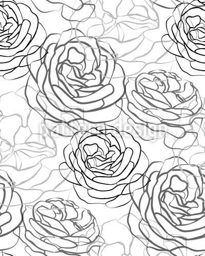 Rose Petals Line Drawing Seamless Vector Pattern Design