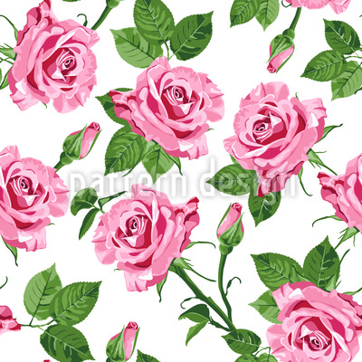 Roses Of Spring Seamless Vector Pattern Design