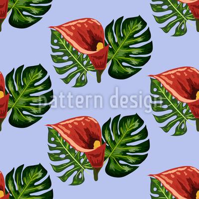 Tropische Blätter und Callas Nahtloses Muster