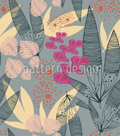 Tropical Stylized Plants Seamless Vector Pattern Design
