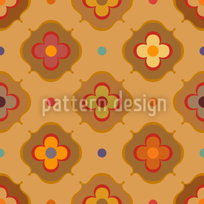 Vintage Abstract Flowers Seamless Vector Pattern Design