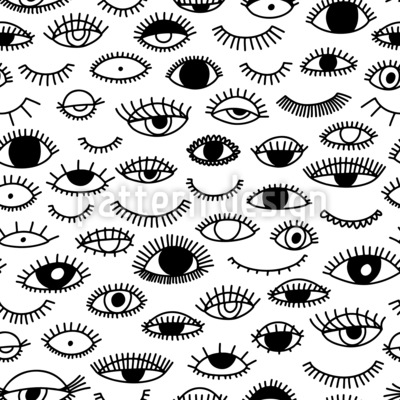 Eyes And Eyelashes Seamless Vector Pattern Design