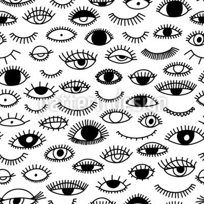 Ojos Y Pestañas Estampado Vectorial Sin Costura