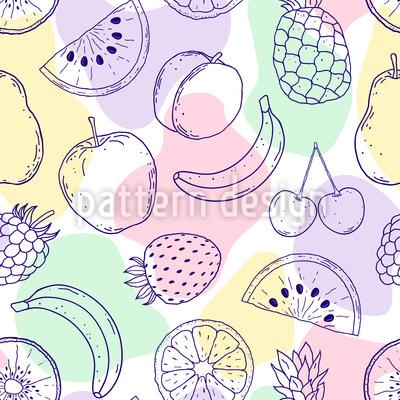 新鮮な果物と抽象的な形 シームレスなベクトルパターン設計