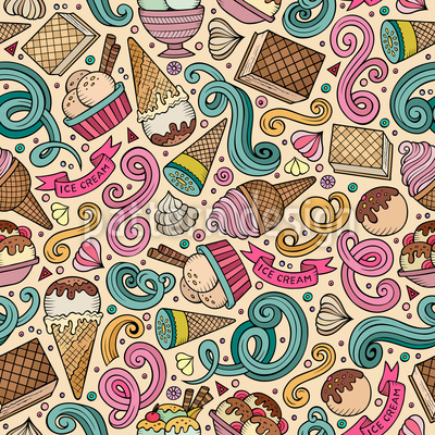Ice Cream Love Seamless Vector Pattern Design