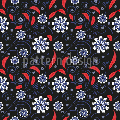 Twigs With Flowers And Leaves Seamless Pattern