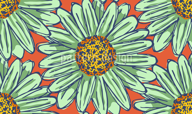 Floral Daisy Field Seamless Vector Pattern