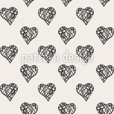 Grid In Hearts Seamless Vector Pattern