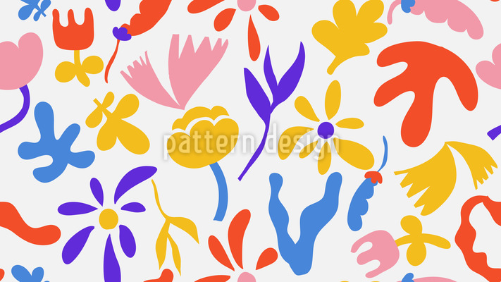 Doodled Flowers And Leaves Vector Ornament