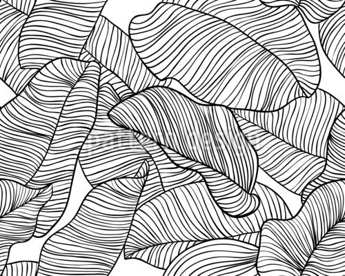 Frische Bananenblätter Nahtloses Vektormuster