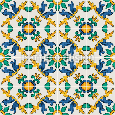 Sizilianische Florale Fliese Nahtloses Vektormuster
