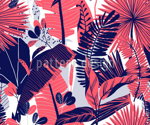 Tropical Plant Variation Seamless Vector Pattern Design