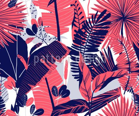 Variación de plantas tropicales Estampado Vectorial Sin Costura