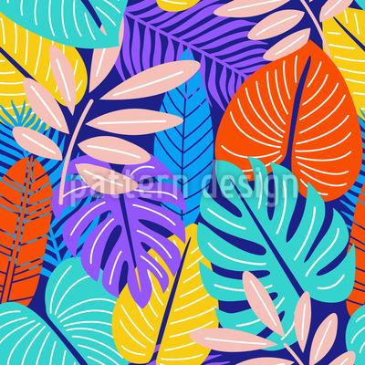 Macro hojas Estampado Vectorial Sin Costura