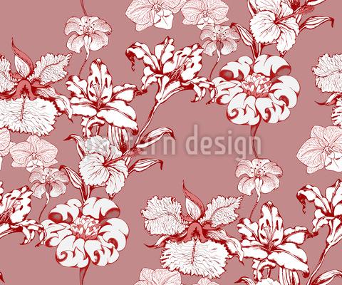 ユリと蘭 シームレスなベクトルパターン設計
