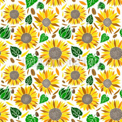 ヒマワリの花 シームレスなベクトルパターン設計