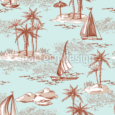 Desert Island Seamless Vector Pattern Design